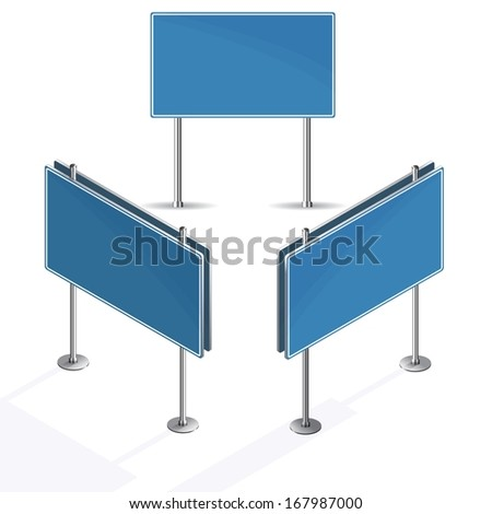 Blank blue road sign on white background isometric - stock vector