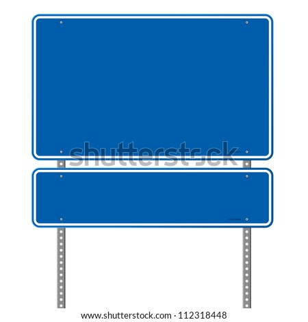 Blank Blue Road Sign - Pair of roadsigns in blue color isolated on white background - stock vector