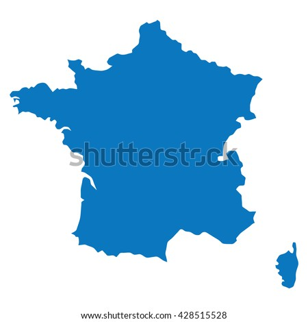 Blank Blue Similar France Map Isolated Stock Vector - France map images blank