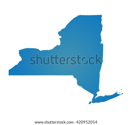 Blank Blue Similar New York Map Isolated On White Background State Of Usa Vector