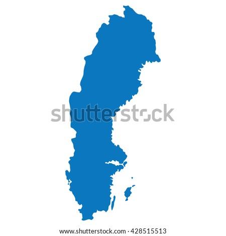 Blank Blue Similar Sweden Map Isolated Stock Vector - Sweden map outline
