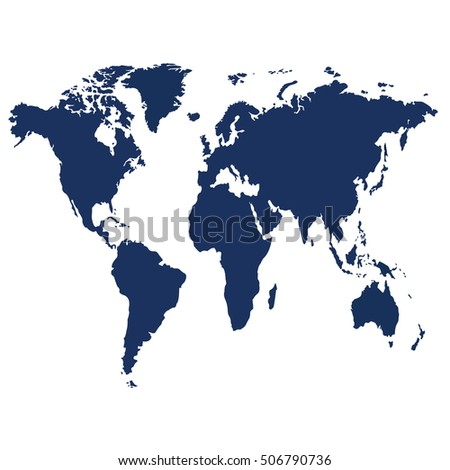 Blank Blue Similar World Map Isolated On White Background. Best Popular  World Map Vector Template