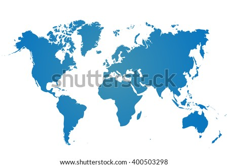 Blank Blue similar World map isolated on white background. Best popular Worldmap Vector template for website, design, cover, annual reports, infographics. Flat Earth Graph illustration.