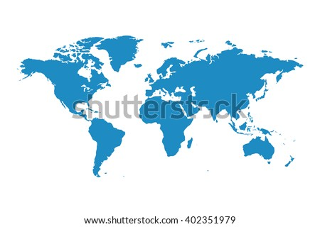 Blank Blue Similar World Map Isolated Stock Vector - Earth blank map