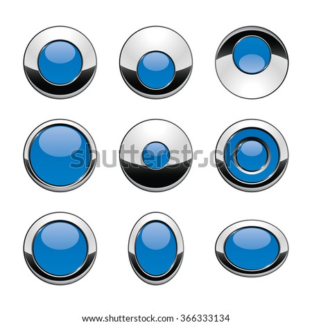 Blank blue web buttons for website or app. Vector - stock vector