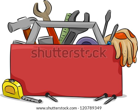 open toolbox clipart. blank board illustration of red tool box with carpentry tools open toolbox clipart