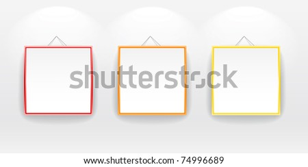 Blank boards with color frames on wall. You can place your message on it - stock vector