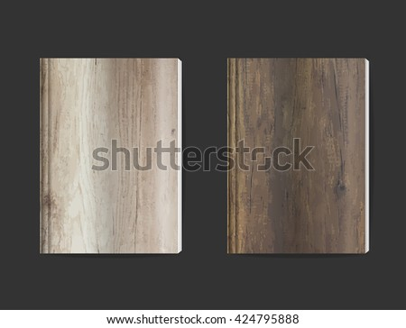 Blank book cover design with wood texture background, magazine cover, booklet cover, notebook paper cover, vector illustration template layout design ( Image trace of wooden background ) - stock vector