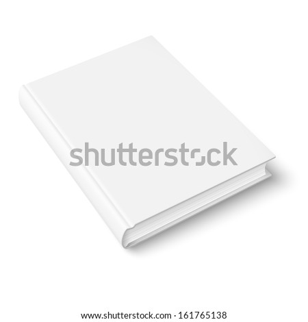 Blank book cover template on white background with soft shadows. Perspective view. Vector illustration. - stock vector