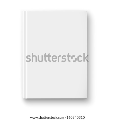 Blank book cover template on white background with soft shadows. Vector illustration. - stock vector