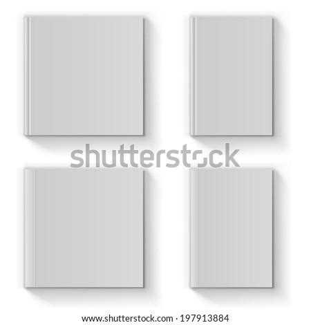 Blank book cover vector template isolated on white background. - stock vector