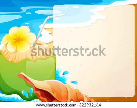 beach scene clipart border. blank border with coconut juice on beach background illustration scene clipart