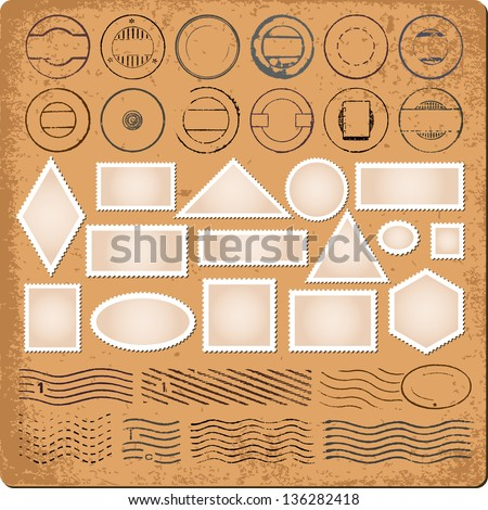 Blank borders and grunge rubber stamp vector - stock vector