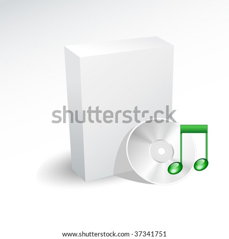 Blank box and music dvd , disc , cd - stock vector