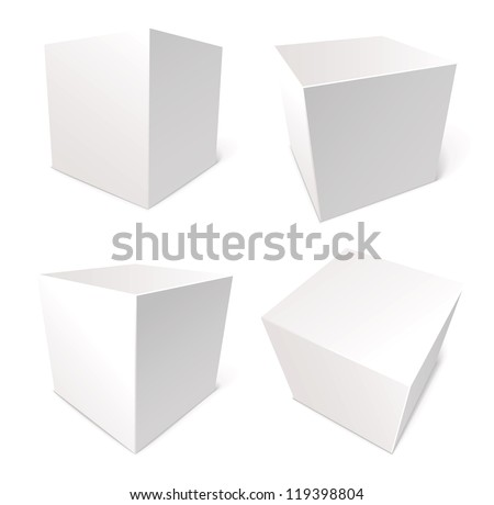 Blank box isolated on white background, vector illustration, set - stock vector