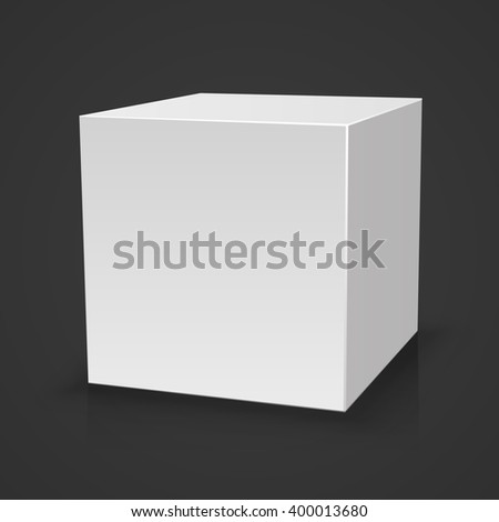 Blank box on black background with reflection, Illustration Isolated On White Background. Mock Up Template Ready For Your Design, White box, template design element, Vector illustration - stock vector