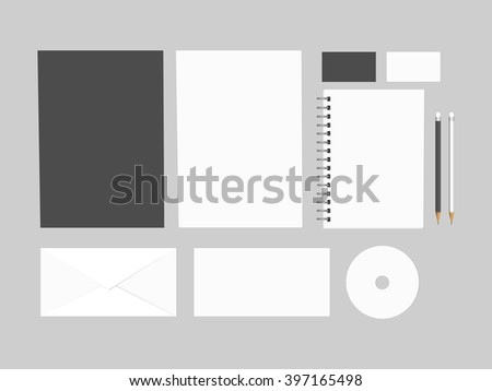 Blank branding mock up, isolated on grey background. Consist of CD, 2 sheets of paper A4, letters, business cards, spiral notepad, pencils. Vector, EPS10 - stock vector