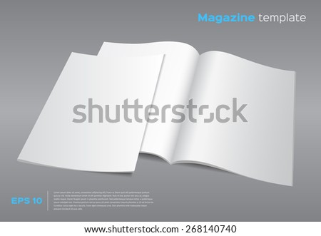 Blank brochure mockup template. Opened magazine with cover. Realistic vector EPS10 illustration. Gray background. - stock vector