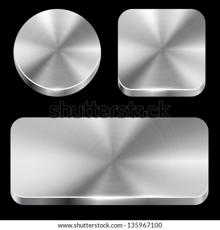 Blank brushed metal buttons isolated on black background vector template. - stock vector