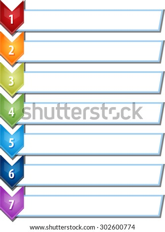 blank business strategy concept infographic chevron list diagram illustration seven 7 steps - stock vector