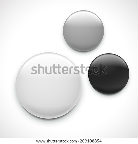 blank button badge template isolated over white background  - stock vector
