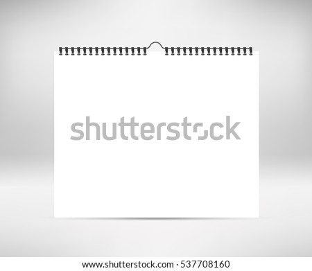 Blank calendar mock up. Stock vector. Realistic sheets of paper with spiral isolated on background. Design of white horizontal notebooks, wall calendars, cards.