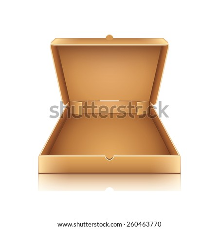 Blank cardboard pizza box isolated on white photo-realistic vector illustration - stock vector