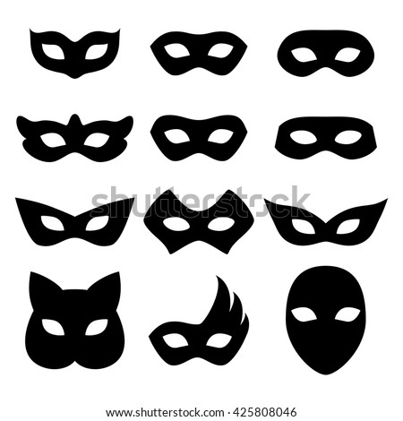 Blank Carnival Assorted Masks Icons Templates Set Illustration Party Masquerade Symbol Black Color