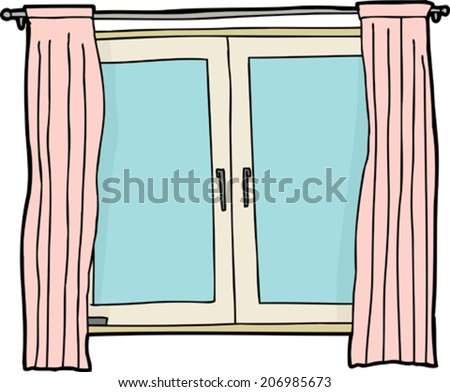 Blank Casement Window Cartoon With Pink Curtains