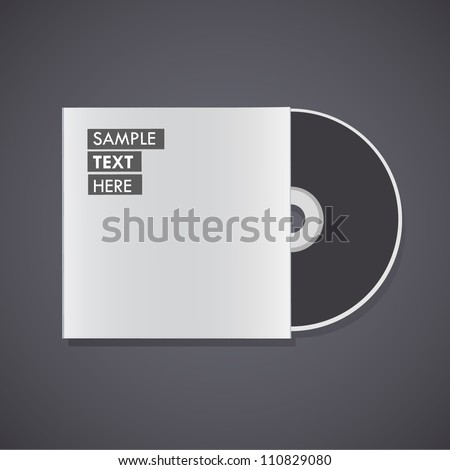 Blank cd isolated on black background. Vector design. - stock vector