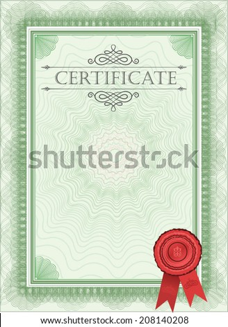 Diploma Blank Certificate Template Stock Vector