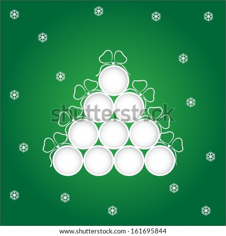Blank Christmas balls over green background with paper like snowflakes