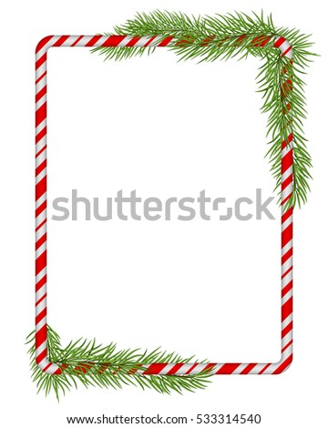 blank christmas border candy cane frame with branch of christmas tree fir isolated - Blank Christmas Tree
