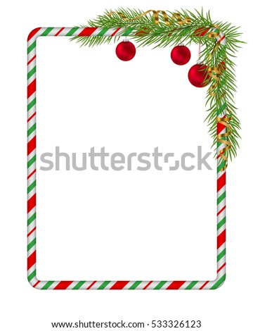 Blank Christmas Border Candy Cane Frame With Branch Of Tree Fir Red
