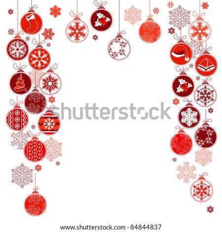 Blank Christmas frame with contour hanging balls - stock vector
