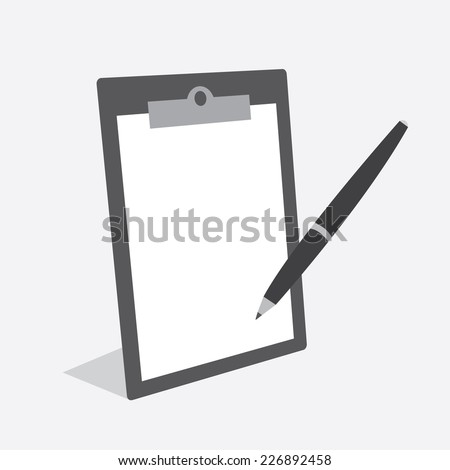 Blank clipboard with paper and pen