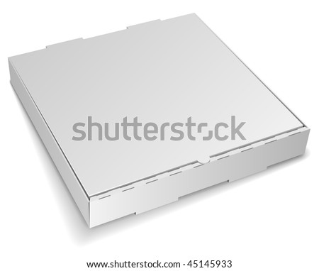 Blank closed cardboard pizza box isolated on white background. - stock vector