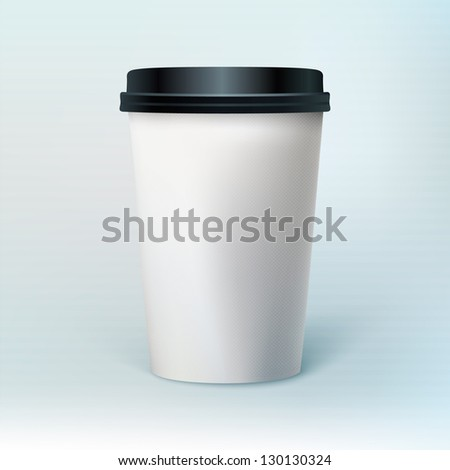 Blank coffee cup to represent your template design. Ideal for coffee shops presentations, websites and printing ads.  - stock vector