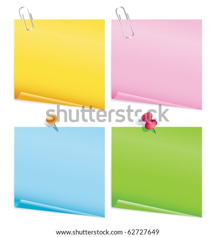 blank color items with pins - stock vector