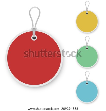 Blank color round price tag isolated on white background. - stock vector