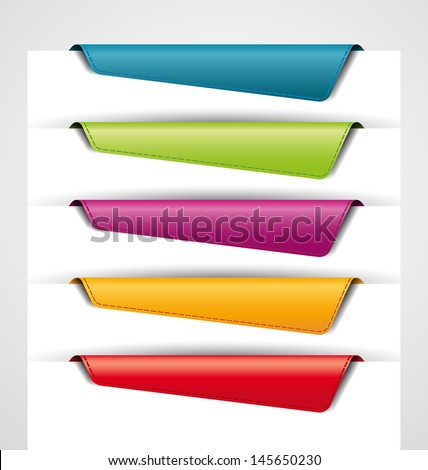 blank colored bookmarks, tags for the web - stock vector