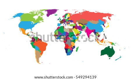 Blank colorful political world map isolated vectores en stock blank colorful political world map isolated on white background world map vector template for website gumiabroncs