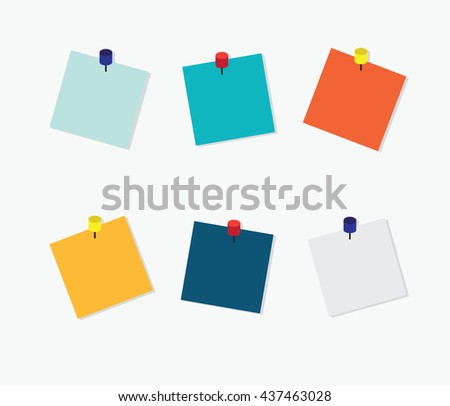 Blank Colorful Sticky Notes, Post it note with pin on white background, vector illustration. - stock vector