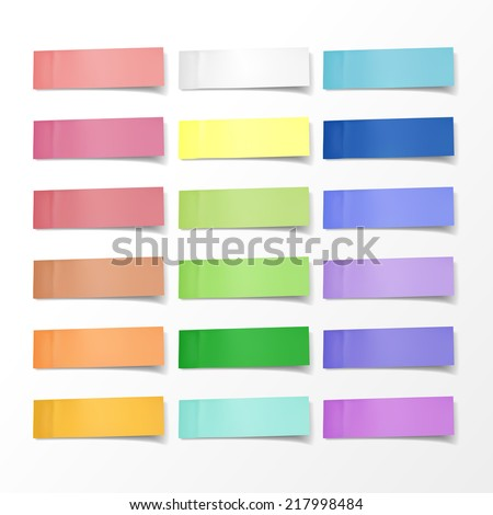blank colorful sticky notes set over white background - stock vector