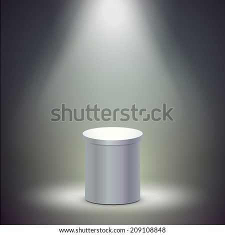 blank columnar stage  isolated over dark background - stock vector