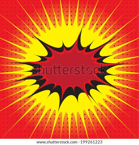 Blank comic speech bubble in pop art style on burst and haft tone background, cartoon background