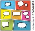blank comic speech bubbles in pop art style background. vector eps10 - stock