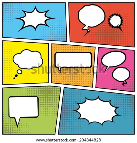 blank comic speech bubbles in pop art style background. vector eps10 - stock vector