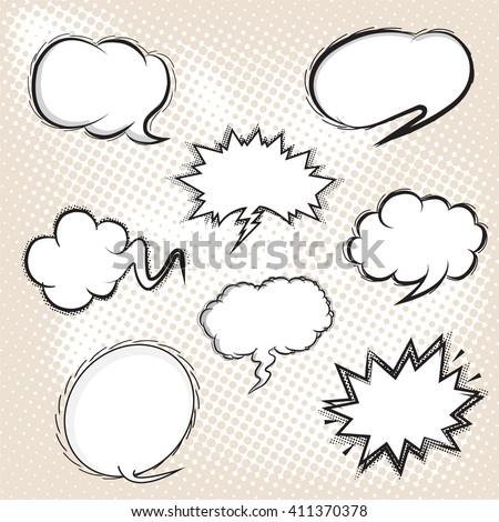 BLANK Comic speech bubbles set, comic wording sound effect set design for comic background, comic strip - stock vector