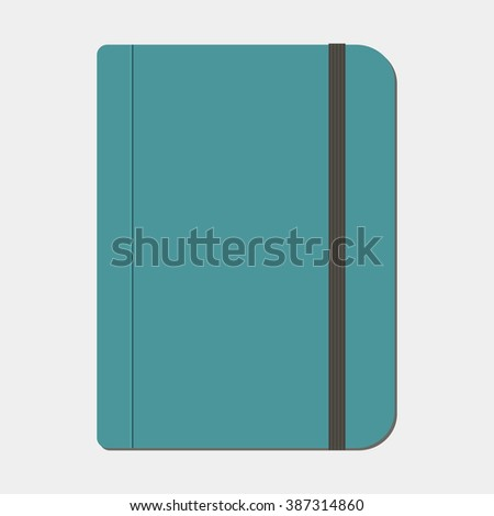 Blank copybook template with elastic band - stock vector